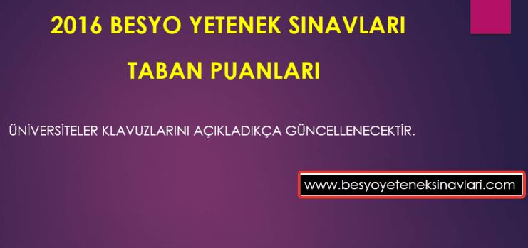 2016 Besyo Taban Puanları