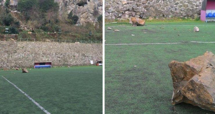 Trabzon'da Sahaya Resmen Taş Yağdı