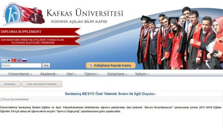 Kars Kafkas Üniversitesi Besyo Yetenek Sınavı 2017